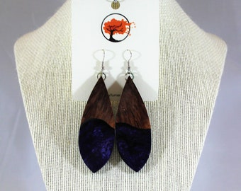 REd Mallee burl and acrylic earrings
