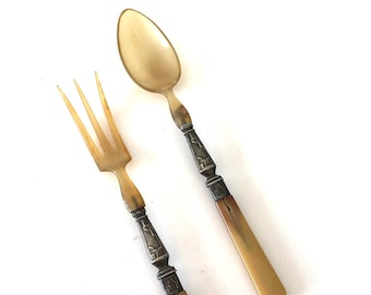 spoon /& fork horn and metal French antique salad serving set