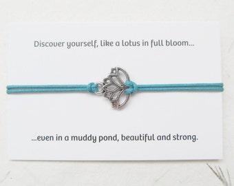 Lotus bracelet, yoga bracelet, lotus jewelry, wish bracelet