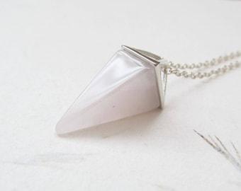 Rose quartz necklace, rose quartz pendant, gemstone necklace, yoga necklace