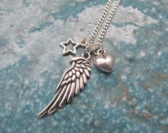 Wing necklace, angel necklace, star necklace