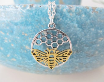 Bee necklace, honeycomb necklace