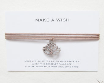 Wish bracelet, yoga bracelet, make a wish bracelet, lotus bracelet