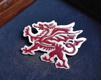 Welsh Dragon Scarf Pin - Red Dragon Brooch - British Dragon Cloack Pin - Merlin's Brooch - Pendragon Mascot - Polymer Enamel Pin