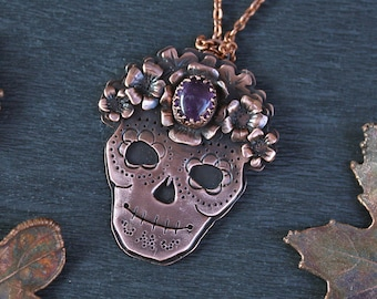 Santa Muerte Copper Pendant Necklace - Amethyst Witch Necklace - Beautiful Skull Pendant with Gemstone - Lovely Bones Necklace