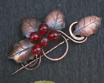 Holly Bright Brooch - Ilex Woman Fibula - Red Berry Shawl Pin - HairPin - Handmade Copper Scarf Pin - Holly Hair Clip - Metal Art Jewelry