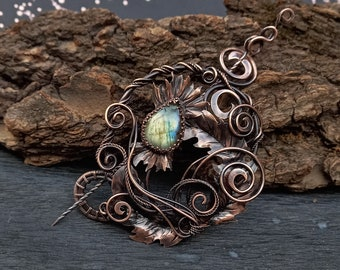 Copper Labradorite Thistle Brooch - Scottish Brooch - Scotland Thistle Fibula - Stone Flower Scarf Pin - Shawl Pin - Valentine Gift