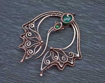 Celtic Penannular Copper Dragon Fibula - Nothern Style Artistic Brooch - Ethnic Style Art Fibula - Shawl Pin - Scarf Pin - Hat Accessory