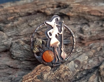 Copper Agate Witch Ring  - Halloween Handmade Witch Ring - Gemstones WItch with the Broom Ring - Adjustable Ring - Freesize Witch Ring