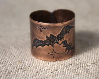 Halloween Bat Ring - Jolly And A Bit Of Spooky Traditional Cute Bat - Black Bat - Bat Ring - Silouette Bat Ring - Night Ring - Halloween Bat