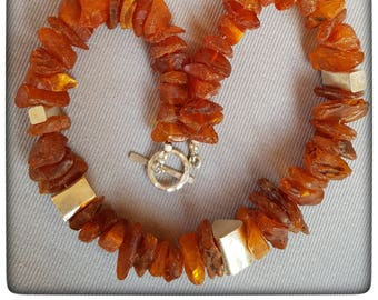 Large amber stones with Thai silver