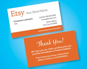Etsy Business Cards – Free custom URL to your Etsy store – FREE SHIP!