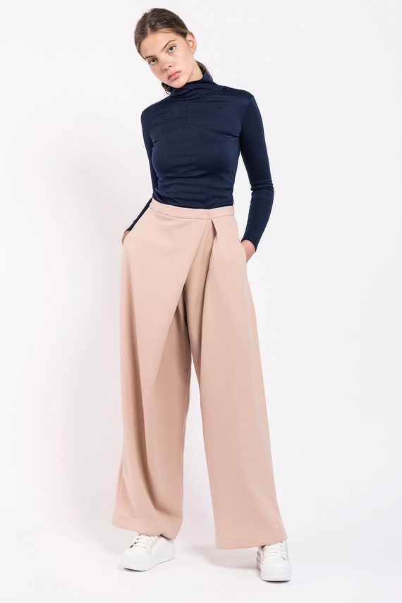 Wide Leg Pants, Womens Pants, Japanese Clothing, High Waisted Pants, Trendy  Plus Size Clothing, Beige Pants, Wide Pants, Loose Pants, Formal