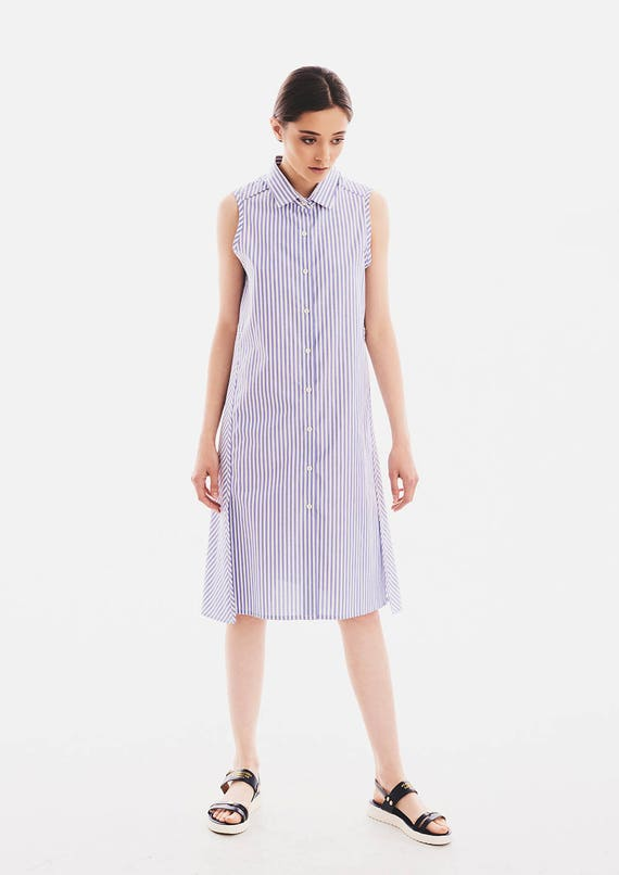 Womens Dress, Shirt Dress, Striped Dress, Plus Size Clothing, Summer Midi  Dress, Boho Dress, Cotton Dress, Sleeveless Dress, Collar Dress