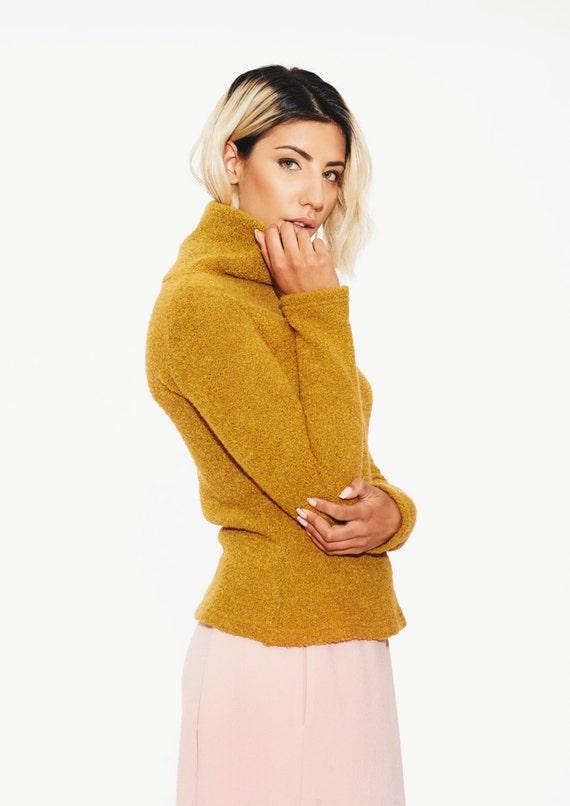 Yellow Sweater Turtleneck Sweater Fleece Sweater Boho Clothing Wool Sweater Winter Mustard Sweater Winter Sweater Warm Sweater