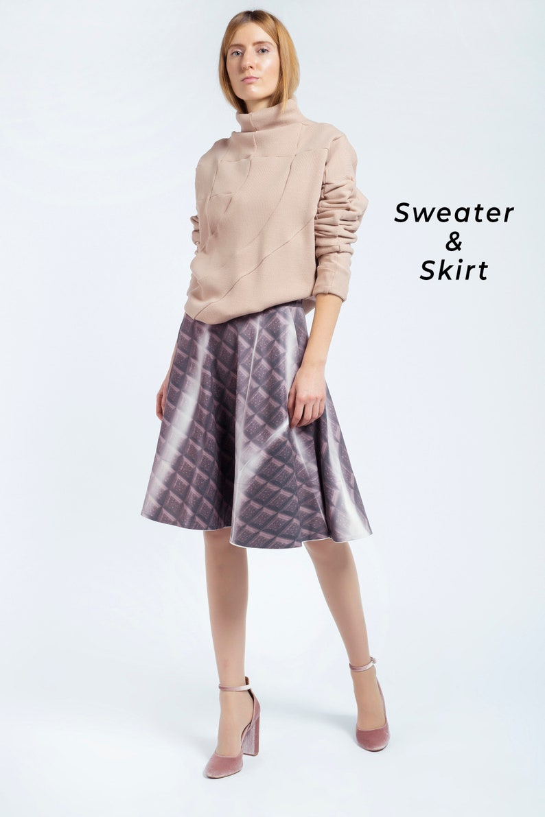 21c7a8a5eaf Women Set Sweater And Skirt Elegant Costume Office Suit