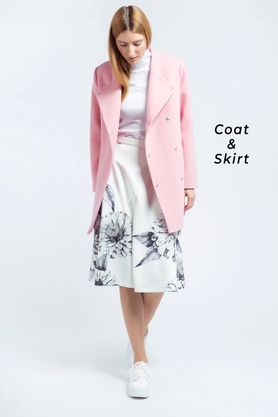 lowest discount new high quality factory price Two Piece Set, Women Suit, Coat And Skirt, Minimalist Clothing, Women  Costume, Winter Outfit, Office Clothing, Elegant Suit, Cocktail Suit