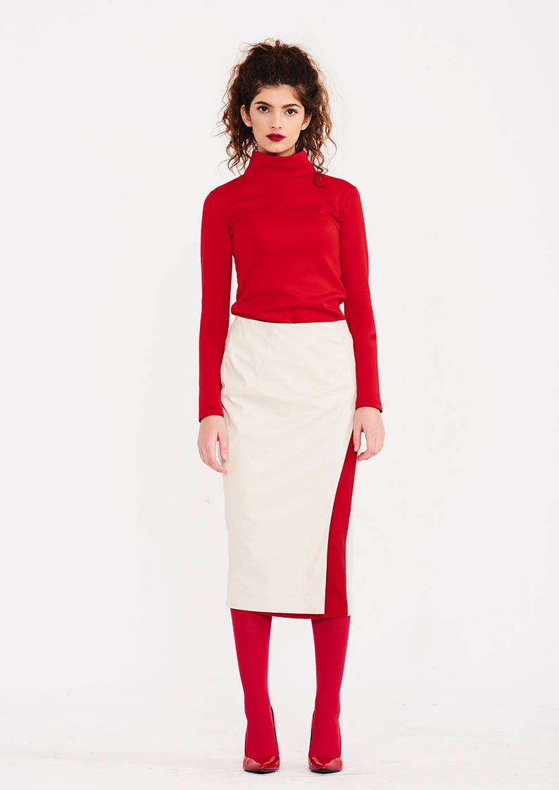 652fd6c06fd1bf Jupe en cuir, jupe crayon, jupe Midi, jupe taille haute, jupe blanche, jupe  surdimensionné, jupe femme, Plus jupe en taille, cadeau femme