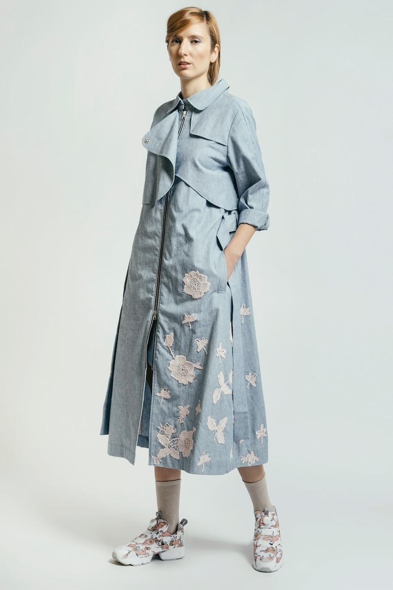 the best attitude 9f8bd 130bb Women Trench Coat, Denim Coat, Elegant Coat, Extravagant Coat, Floral Coat,  Denim Trench, Long Sleeve Coat, Jacket Overcoat, Denim Jacket