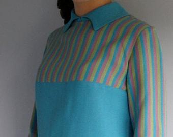 1960s vintage blue shift dress with striped yoke by Ricki Reed