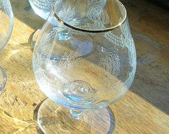 Soviet Vintage USSR cognac brandy drink glasses. Party wedding accessory. Barware. Set of 4.