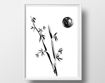 Bamboo Ink Drawing Etsy