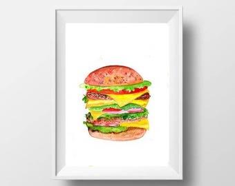 Hamburger deco art etsy