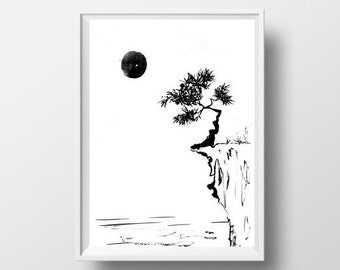Sun Pine Tree Mountain Lake Simple Painting Black White Sumi E Minimalist Ink Drawing Print Nature Wall Art Abstract Landscape Decor Poster