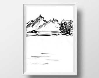 Mountain Lake Simple Painting Black White Sumi E Minimalist Ink Drawing Print Nature Wall Art Abstract Landscape Home Decor Poster 4x6 5x7