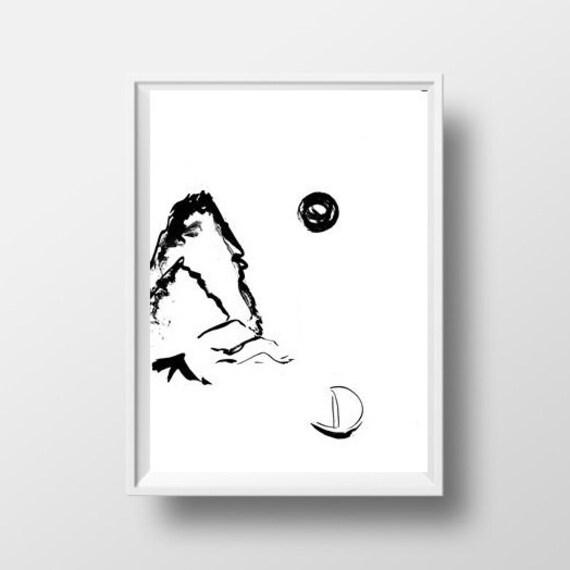 Montagne Lac Simple Peinture Sumi Blanc Noir E Minimaliste Etsy