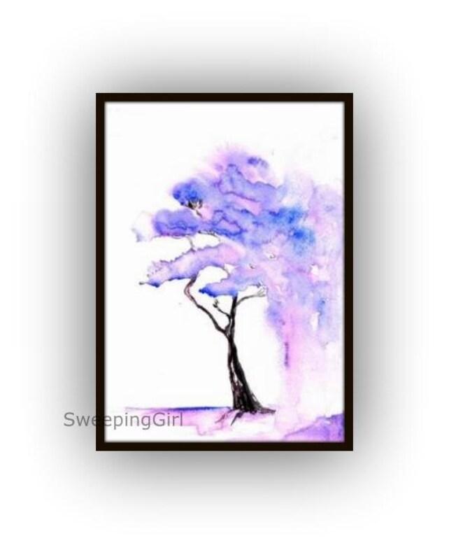 Jacaranda-Baum-Aquarell Malerei blau lila Frühling blühenden   Etsy