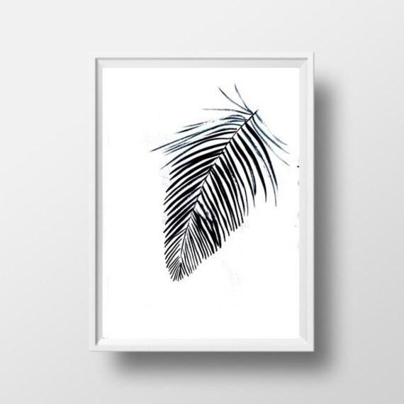 Palm Leaf Simple Painting Black White Minimalist Coconut Tree