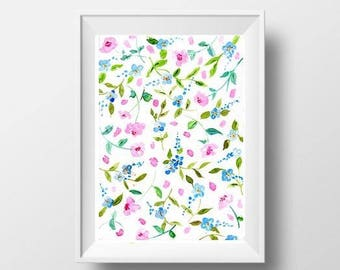 Abstract Flowers watercolor painting light pink rose floral wall art print nursery girl room wall art home decor floral poster decoration