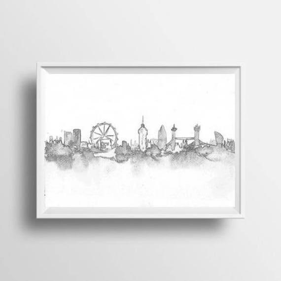 Londres ciudad noche horizonte lápiz dibujo paisaje urbano