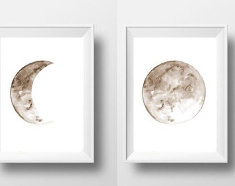 Moon phase watercolor painting Set of 2 print watercolor wall art simple poster lunar print beige and white nursery print decor for girl
