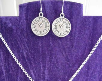 Clock-face Earring and Necklace Set