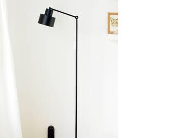 Modern Floor Lamp in Black Metal Light Mid Century Industrial Cylinder Scandinavian Style