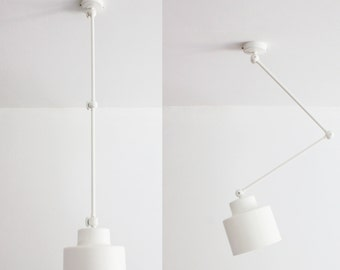 White Ceiling Lamp with movable Arms, Pendant, Handmade, White Hanging Lamp, Ceiling Minimal Lamp, Living Room Lamp,