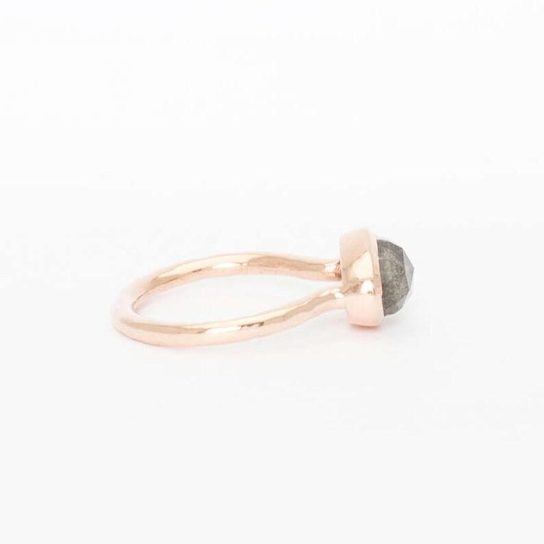 Hand Hammered Rose Gold Cocktail Labradorite Ring Cocktail Labradorite Ring in Rose Gold
