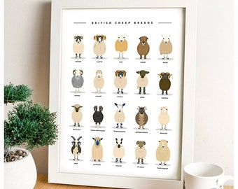 Sheep Poster, Farm Animals, Sheep Breeds, Farm Art, British Livestock, Scottish Art, Wall Art, Art Print, Farmhouse Decor, Farmer Gift