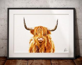 Highland Cow Print - Highland cow Art - Highland Cow painting - Scottish Highland Cow - Highland coo painting - Hairy Coo - Hairy Cow Print