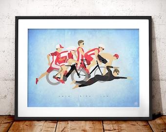 Triathlon Print - Triathlon Art - Triathlete gifts - Ironman - Triathlon Gifts - Triathlete Gifts - Triathlon poster - Gifts for runners