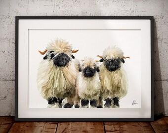 Valais Blacknose Sheep - Valais Blacknose sheep painting - Sheep Print - Blacknose Sheep - Valais - Swiss Sheep - Kitchen art