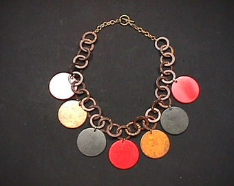 ae57b8fed314 Vintage Tested All Bakelite Circle Disc Multi-Color Necklace Ready to Wear