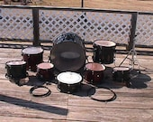 A Nine Piece Collection of Sound Percussion Drums High Hat Ready to be Used for PICK UP ONLY