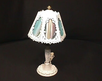 b812f4c79245 Antique Slag Glass Boudoir Table Lamp in Ready to Use Condition as-is