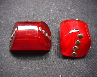 Two Vintage Bakelite ? 1950's Purse Top Clips