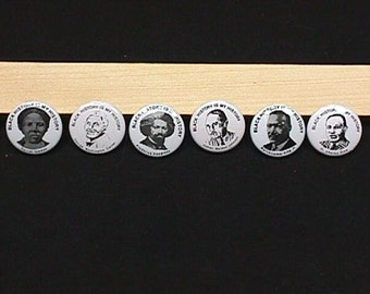 Vintage Set of Six Black History Pin Back Buttons from The Black History is My History Collection