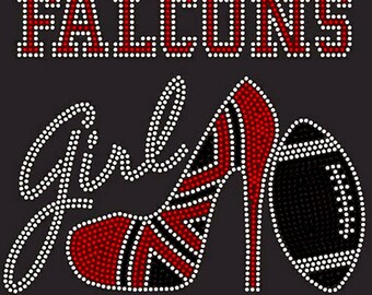 Falcons and Wine Kinda Girl Football Sports Diva Sparkle Bling Spangle Women/'s Relaxed V Neck Shirt OR Tank Top