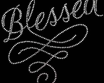 """Religious, Christian, Bible, Solomon, Bling, Diva, Rhinestone """"Blessed"""" T-Shirt"""